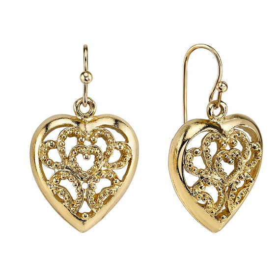 Fashion Jewelry - Gold-Tone Filigree Sweetheart Earrings