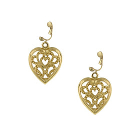 Fashion Jewelry - Gold Tone Sweetheart Clip On Earrings