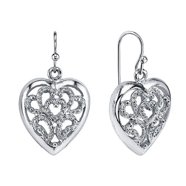 1928 Jewelry Filigree Heart Drop Earrings