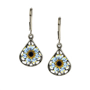 Pewter Filigree Crystal Flowerteardrop Leverback Earring