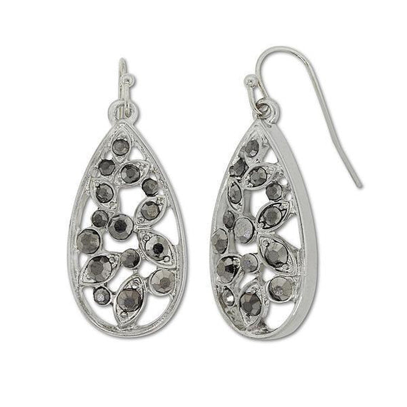 1928 Jewelry: 1928 Jewelry - Silver-Tone Hematite Teardrop Earrings