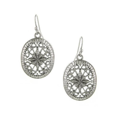 Silver-Tone Filigree Oval Earrings