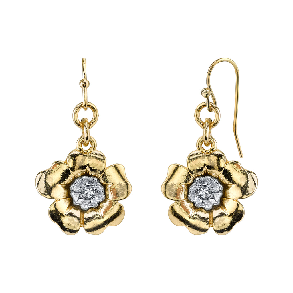 Gold-Tone and Silver-Tone Crystal Flower Drop Earrings