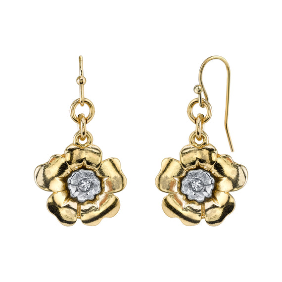 Fashion Jewelry - Gold-Tone and Silver-Tone Crystal Flower Drop Earrings