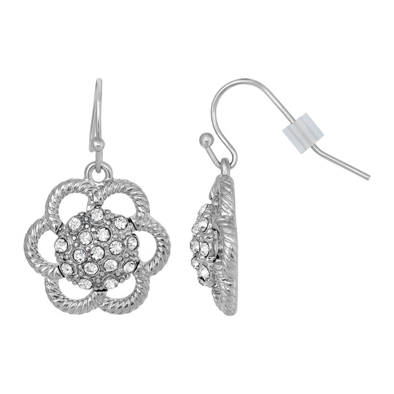 Fashion Jewelry - 2028 Silver Tone Crystal Flower Drop Earrings