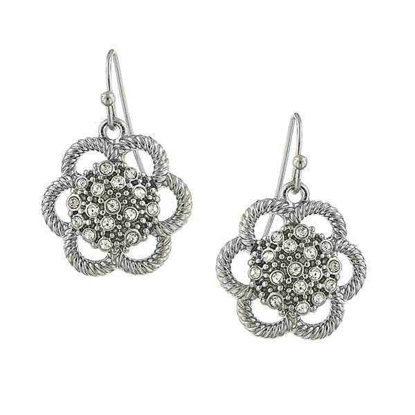 Silver Tone Crystal Flower Drop Earrings
