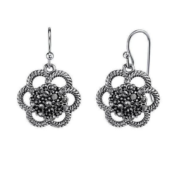 Silver-Tone Hematite Color Flower Drop Earrings