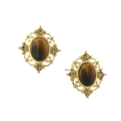 Gold-Tone Topaz Crystal And Topaz Cat Eye Button Earrings