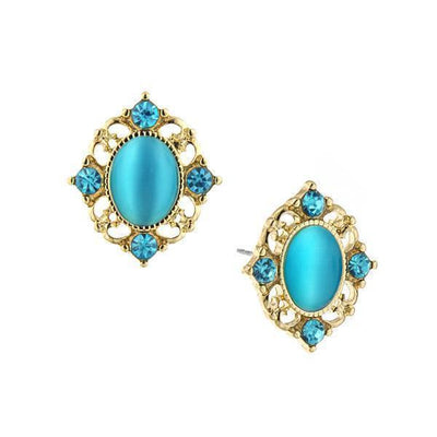 Gold-Tone Aquamarine Crystal And Aqua Blue Cat Eye Button Earrings