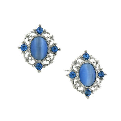 Silver Tone Sapphire Crystal And Blue Cat Eye Button Earrings