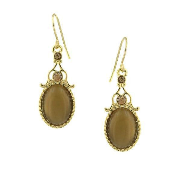 Gold Tone Topaz Crystal And Topaz Cat Eye Oval Drop Earrings
