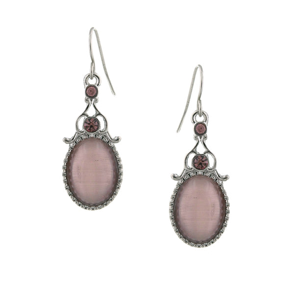 Silver Tone Purple Crystal and Simulated Cat's Eye Oval Drop Earrings