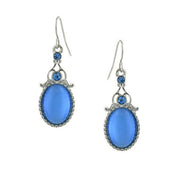 Silver Tone Crystal And Cat Eye Oval Drop Earrings