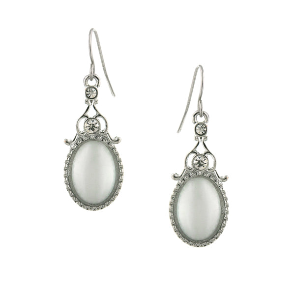 Silver Tone Crystal And White Cat Eye Oval Drop Earrings