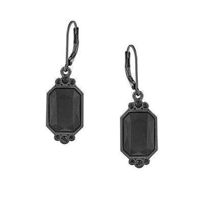 Black Tone Black Octagon Drop Earrings