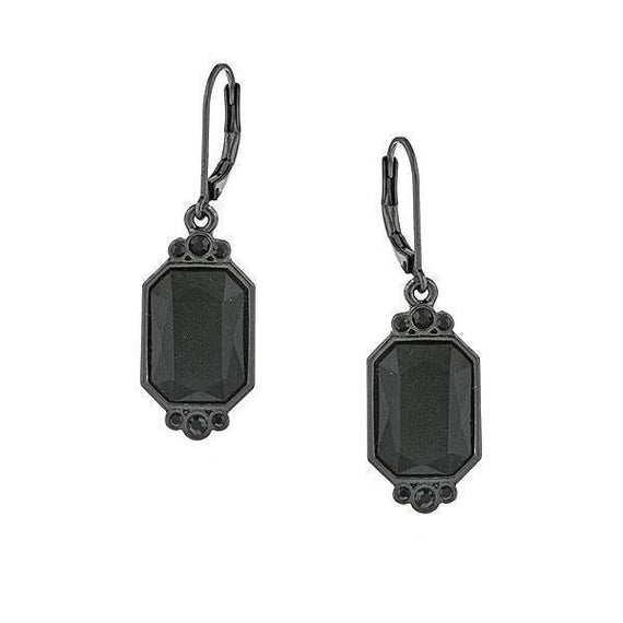 Black-Tone Black Octagon Drop Earrings