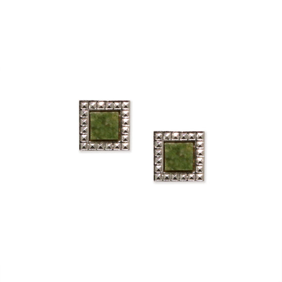 Silver Tone Jade Semi Precious Square Earrings