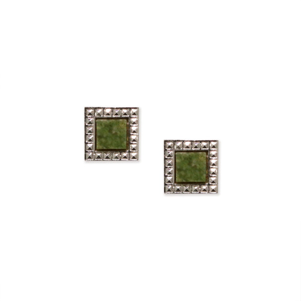 Green Aventurine Gemstone Square Stud Earrings