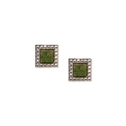 Silver Tone Jade Gemstone Square Earrings