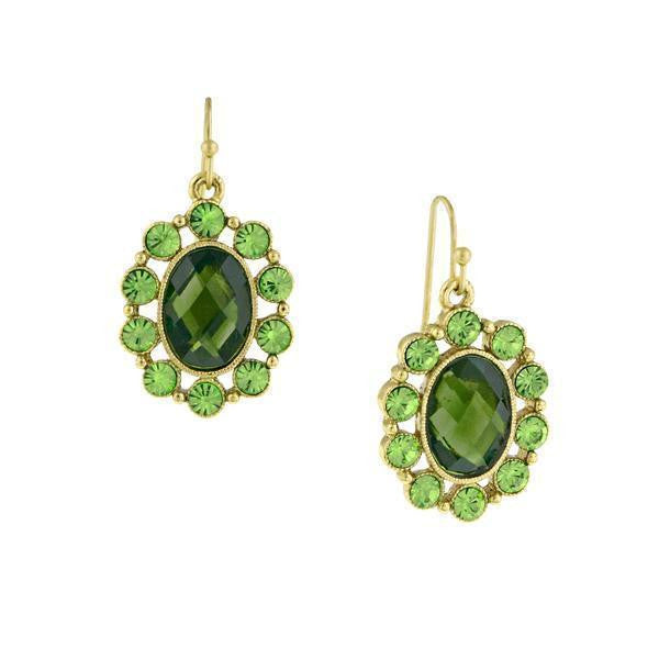 Gold-Tone Green Oval Drop Earrings