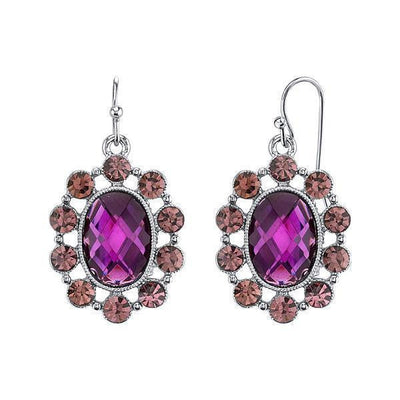 Silver-Tone Purple Oval Faceted Drop Earrings