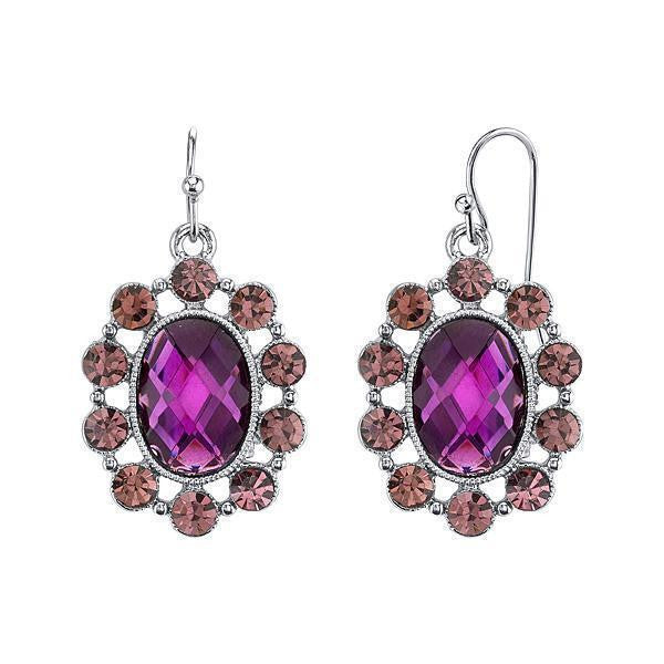 Silver Tone Purple Oval Faceted Drop Earrings