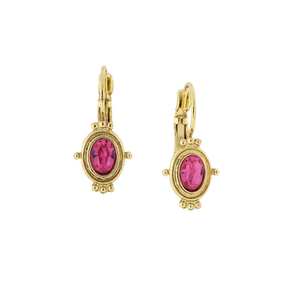 Gold-Tone Rose Pink Oval Drop Earrings