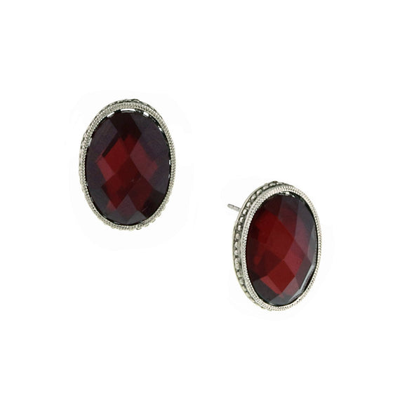 Silver-Tone Red Faceted Oval Button Earrings