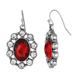 Fashion Jewelry - Bejeweled Red Siam Oval Drop Earrings