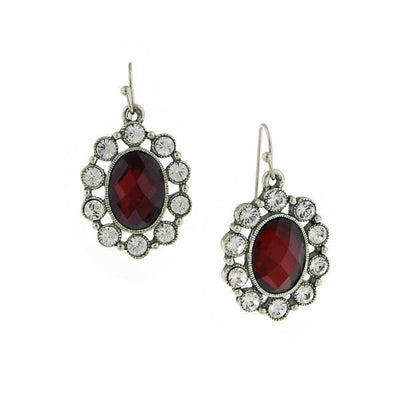 Silver Tone Red Faceted Stone And Crystal Oval Drop Earrings