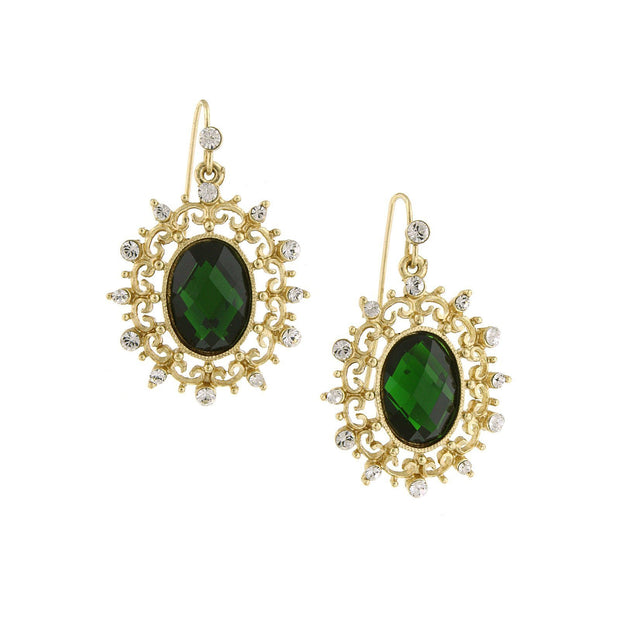 Gold Tone Green Stone And Crystal Oval Drop Earrings