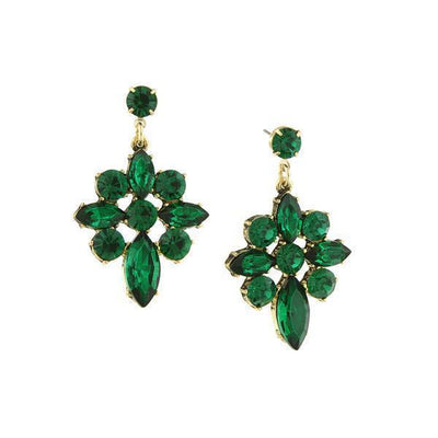 Gold-Tone Green Crystal Cluster Drop Earrings