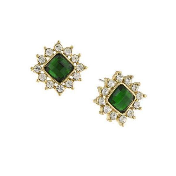 e1a51028c Fashion Jewelry - Gold-Tone Emerald Green and Crystal Vintage-Inspired Stud  Earrings