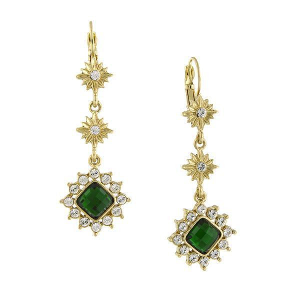 Gold Tone Emerald Green Color And Crystal Linear Drop Earrings