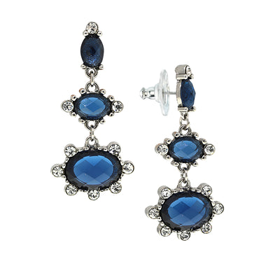 Silver-Tone Sapphire Blue Color And Crystal Drop Earrings