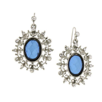 Silver-Tone Blue Stone And Crystal Oval Drop Earrings