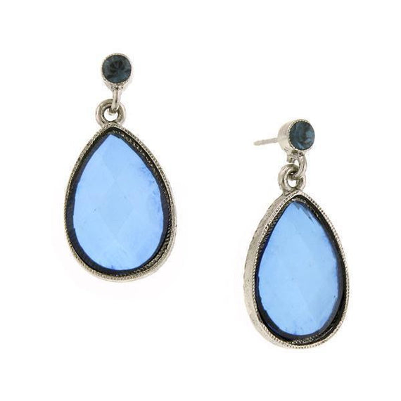 Silver-Tone Sapphire Blue Faceted Pearshape Drop Earrings