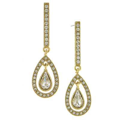Gold Tone Crystal Enclosed Pearshape Linear Earrings