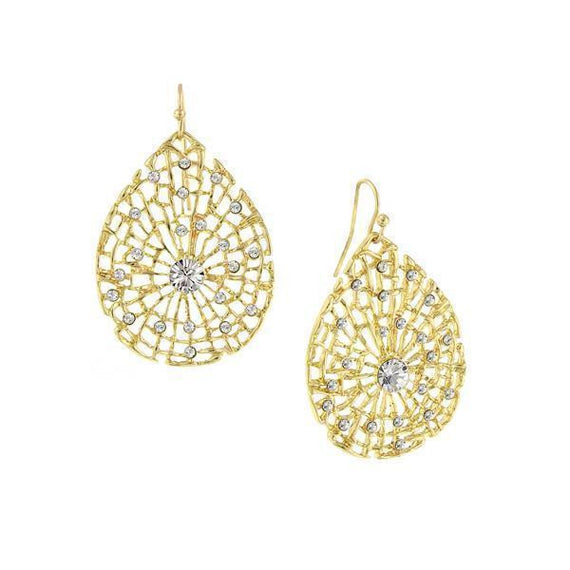 Gold-Tone Crystal Filigree Pearshape Drop Earrings