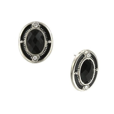 Silver-Tone Crystal And Black Faceted Oval Button Earrings