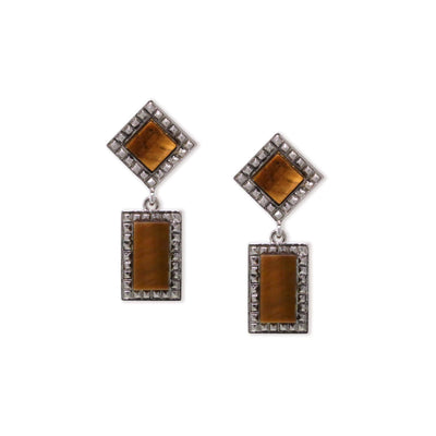 Silver Tone Tiger Eye Gemstone Square Rectangle Drop Earrings