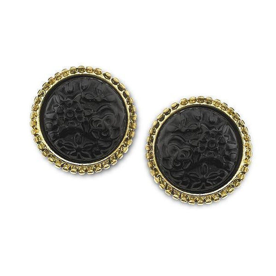 Gold-Tone Black Carved Button Earrings