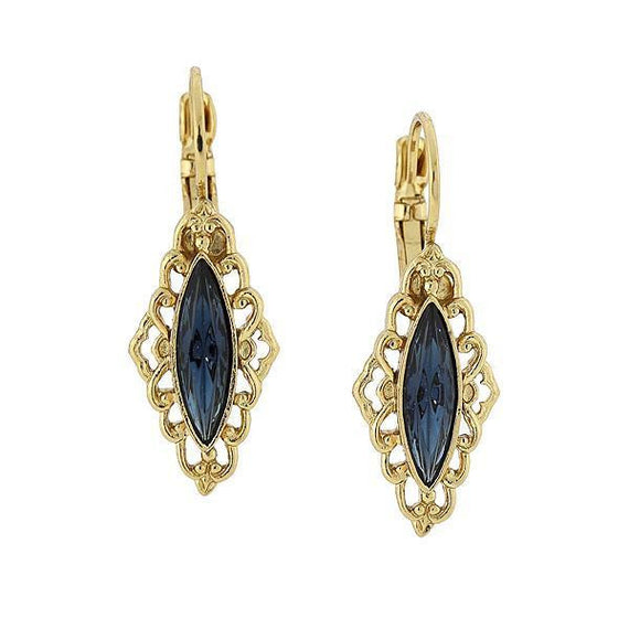 Fashion Jewelry - Gold-Tone Dark Blue Marquise-Shaped Drop Earrings