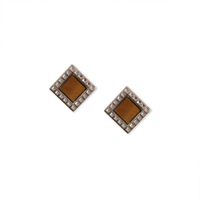 Silver Tone Tiger Eye Gemstone Square Stud Earrings