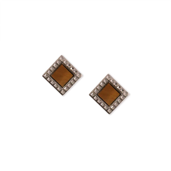 Silver Tone Tiger Eye Semi Precious Square Stud Earrings