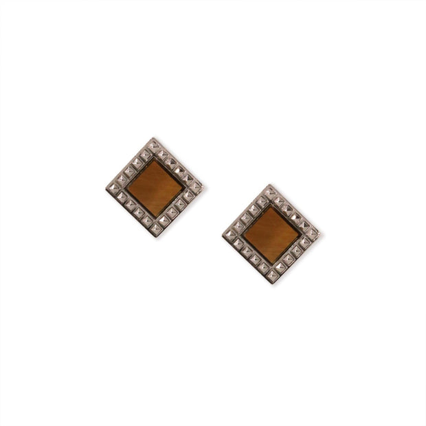 Tigers Eye Gemstone Square Stud Earrings