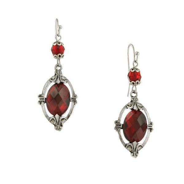 Silver Tone Red Oval Drop Earrings