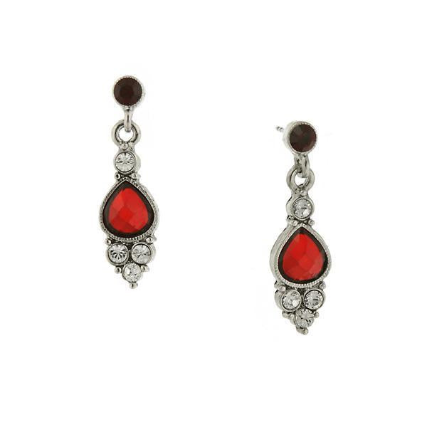 Silver-Tone Red Faceted Crystal Pearshape Drop Earrings