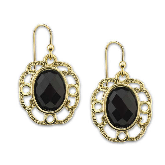 Gold-Tone Black Faceted Drop Earrings