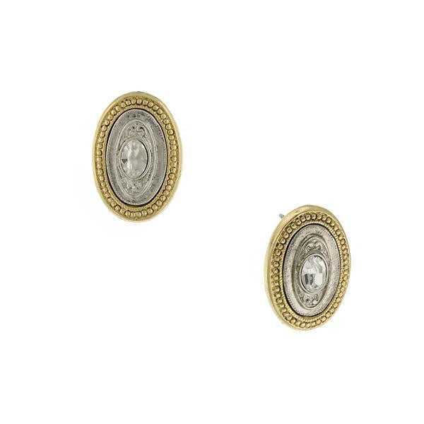 Gold-Tone And Silver-Tone Crystal Accents Oval Button Earrings